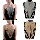 Beauty Gold Silver Snake Chain Tassel Crystal Choker Statement Pendant Necklace