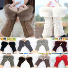 YW Women Fitted Knitted Fingerless Gloves Wrist Warmer Faux Rabbit Fur Mittens