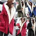 Korean Women's Warm Winter Fleece Hooded Parka Coat Long Jacket Outwear Overcoat