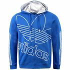 ADIDAS ORIGINALS MENS BLUE FLEECE TREFOIL HOODIE JUMPER SIZES S M L