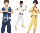 Children kids Silk Satin Uniform Boy China Kung Fu Suit Costumes Sets Clothing