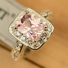 Luxury Flawless Pink & White Women Topaz Silver Ring Size 6/7/8/9