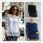 Women Lady Chiffon Sheer Sleeve Embroidery Lace Crochet Tee Shirt Blouse Tops LA