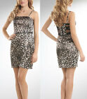 Guess Animalier Leopard Print Illusion Banded Strappy Back w/ Belt Dress