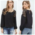 New Fashion Women's Long-sleeved Loose Lace Chiffon Shirt Tops Blouse