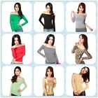 Womens Off Shoulder Long Sleeve Shirts Top Cotton Casual T-Shirt Tops Blouse NEW