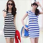 Summer Womens Short Sleeve Round Neck Striped Dress Casual Bodycon Dresses LA