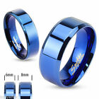 """Love Bird Mystic Blue"" Couples Bands Stainless Steel size 5 to 14"