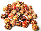 10, 20, 30, 50 x Wooden Beads, Barrel, Mixed Color, 16mm long, hole 8mm (K)
