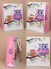 Wholesale Bulk Buy Gift Bags with Cord Handle - Packs of 12 Owl Design - S M L