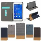 Durable Flip Jeans Leather Slot Thin Case PC Cover Stand For Sony Xperia Phones