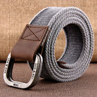 Retro Alloy Double Buckle Leather Waistband Mens Fashion Sports Cotton Belt C65