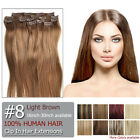 Full Head Clip In Remy Human Hair Extensions #8 Light Brown 16inch-30inch
