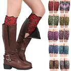 Women Stretch Lace Boot Cuffs Flower Leg Warmers Lace Trim Soft Toppers Socks