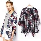 Hot Women Batwing Floral Coat Blouse Kimono Shirt Blazer Jacket Casual S M L SH