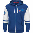 NEW Mens MAJESTIC Buffalo Bills 1960 Bills Football NFL Pace Blue Zip Up Hoodie