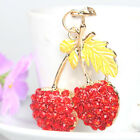 Cherry Red Leaves Lovely Pendent Rhinestone Crystal Purse Bag Key Chain New Gift