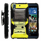 FOR HTC DESIRE + ONE PHONES COVER GAMER  CASE DUAL ARMOR HYBRID HOLSTER CLIP