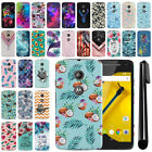 For Motorola Moto E LTE 2nd Gen 2015 PATTERN HARD Back Case Phone Cover + Pen