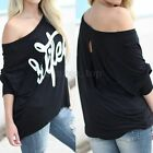UK Womens Letter Print Loose Sweatshirt Casual Pullover Jumper Sweater Tee Top