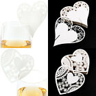 50 Heart Glass Place Name Cards for Wedding Birthday Table Setting Decor