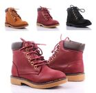 3 Color Two Tone Lace Up Girls Military Combat Kids Ankle Boots Youth Shoes