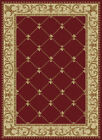 Red Flur De Lis Curls Persian Area Rug Bordered Waves Lines Oriental Carpet