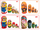 5 RUSSIAN NESTING MATRYOSHKA DOLLS/MINIONS/SUITS GIRLS AND BOYS/H-12cm/4.8''