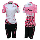 Pink Women Bike Cycling Clothing Bicycle Short Sleeve Jersey + Shorts Set