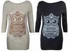 NEW LADIES SOFT MARL KNITTED FLECKED AZTEC OWL PRINT 3/4 SLEEVE JUMPER TOP