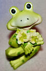 FROGS WITH FLOWERS  * SO CUTE * NEW *3 INCHES TALL ** GREAT GIFT *
