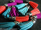Necklace charm pendant Faux leather SUEDE TASSEL  3type blue red purple