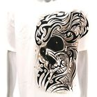 sc11 Sz L XL Survivor Chang T-shirt Tattoo STUD Skull Graphic White Tee Cotton