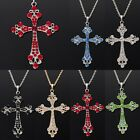 Men's Lucky Retro Style Crystal Rhinestone Cross Pendant Long Chain Necklaces