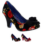 Womens Poetic Licence Velvet Passion Floral Party Mid Heel Court Shoe UK 3.5-8.5