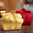 50/100 Wedding Favor Boxes Gift Bags Rose Laser Cut Hollow Candy Boxes Gold/Red