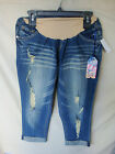 WALLFLOWER Stretch Secret Fit Belly Flap Denim Capri Jean MATERNITY SIZES NWT