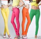 Women's Ladies Casual Slim Skinny Candy Color Pencil Pants Jeans- S/28
