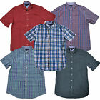 Tommy Hilfiger Mens Buttondown Shirt Classic Fit Plaid Short Sleeve Pocket Logo