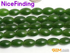 8x12mm Natural Olivary Green Taiwan Jade Gemstone Beads For Jewelry Making 15""