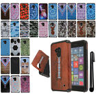 For Microsoft Nokia Lumia 640 ShockProof HYBRID Rubber HARD Back Case Cover +Pen