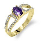 1.23 Ct Oval Checkerboard Purple Amethyst 18K Yellow Gold Plated Silver Ring
