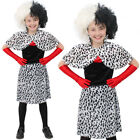 CHILDRENS EVIL DOG LADY FANCY DRESS COSTUME DALMATIAN DRESS WITH CAPE AND WIG
