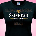SKINHEAD & PROUD guiness style OiOiOi SCOOTER & MODS  - Ladies Cotton T-Shirt
