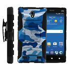 FOR SAMSUNG GALAXY PHONES CASE RUGGED ARMOR HYBRID HOLSTER Blue Camo Water Navy