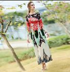 2016 spring occident new arrival vintage printed ruched long dress SZ US 2 4 6 8