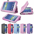 Polka Dot Leather Case Cover Stand For Samsung Galaxy Tab3 P3200 P3210 7 inch UK