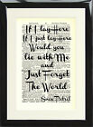 Snow Patrol Chasing Cars Music Love Song Lyric Dictionary Art Print Picture Gift