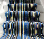 Modern Blue Grey Striped Hallway Stair Carpet Narrow Wide Any Length Per Metre