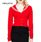 HELL BUNNY Skinny LANDLUBBER Cardigan Top RED Sailor Rockabilly All Sizes